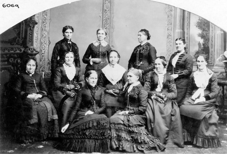 "Photo courtesy of Utah State Historical Society This photo shows the board of directors of the Deseret Hospital. Many of the women in this photo participated in an 1870 meeting defending polygamy. The meeting was referred to as the ""Great Indignation Meeting."" Front row, left to right: Jane S. Richards, Emmeline B. Wells.  Middle row: Phoebe Woodruff, Isabelle M. Horne, Eliza R. Snow, Zina D. Young, Marinda N. Hyde.  Back row: Dr. Ellis R. Shipp, Bathsheba W. Smith, Elizabeth Howard, Dr. Romania B. Pratt Penrose."