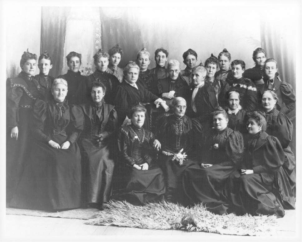 Tribune file photo Susan B. Anthony and the Rev. Anna Howard Shaw, national suffrage leaders, met with Utah suffrage leaders in 1895. Anthony is seated third from the right; and Shaw has her hand on Anthony's chair; next to her is Sarah Granger Kimball, then Emmeline B. Wells and Zina Diantha Young (seated), who was general president of the Relief Society when this photo was taken.
