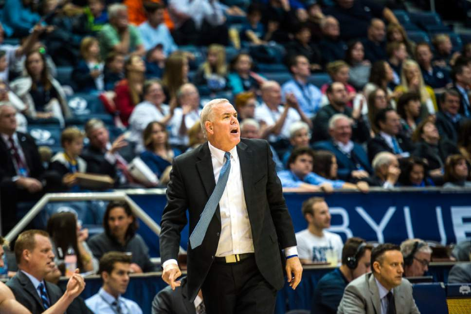 Chris Detrick  |  The Salt Lake Tribune Brigham Young Cougars head coach Dave Rose during the game against San Francisco Dons at the Marriott Center Thursday January 12, 2017.