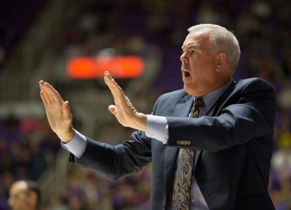 Rick Egan  |  The Salt Lake Tribune  Brigham Young Cougars head coach Dave Rose shouts to his team, in basketball action BYU vs Weber State, at the Dee Events Center in Ogden, Saturday, December 13, 2014