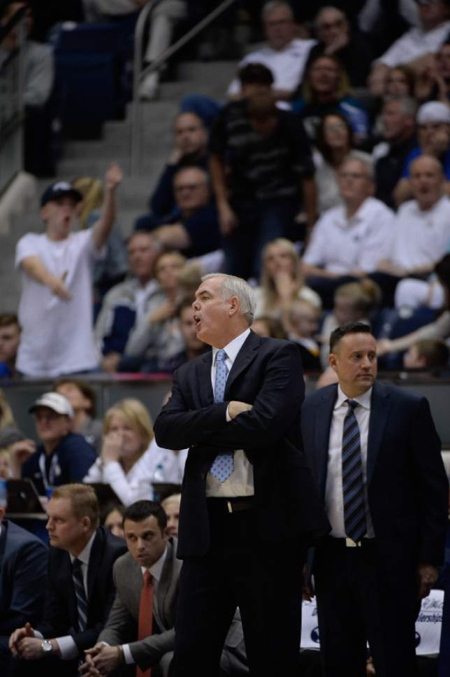 Francisco Kjolseth | The Salt Lake Tribune BYU coach Dave Rose calls out to his team during play against Gonzaga at the Marriott Center, Provo, UT.
