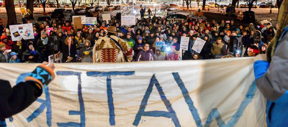 Trent Nelson  |  The Salt Lake Tribune Protestors at a rally organized by the Utah League of Native American Voters to protest the Dakota Access Pipeline, at the City and County Building in Salt Lake City, Thursday January 26, 2017.