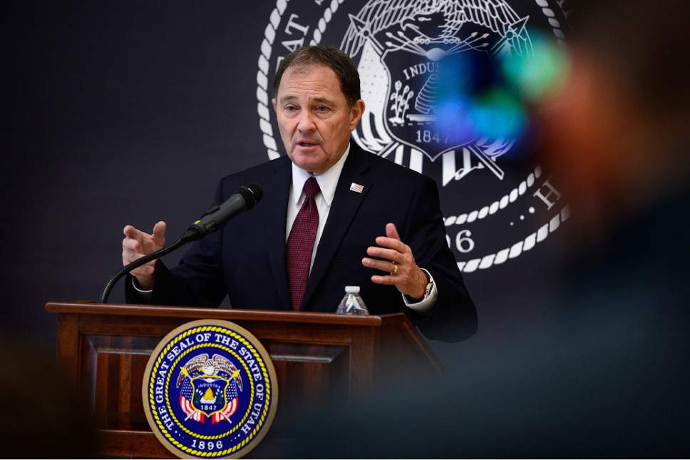 Scott Sommerdorf   |  The Salt Lake Tribune Utah Governor Gary Herbert introduced his recommendations for the fiscal year 2017 budget at SLCC, Wednesday, December 9, 2015. Earlier Herbert toured Innovations Early College High School at SLCC.