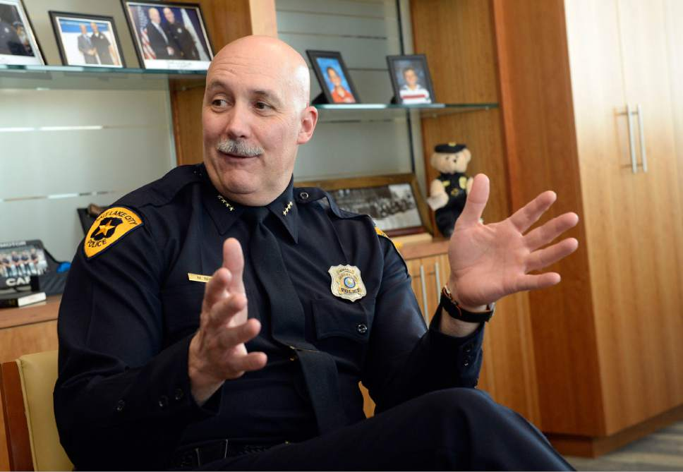 Al Hartmann  |  The Salt Lake Tribune Salt Lake City Police Chief Mike Brown talks about the progress made with the Community Activist Group and its work with the Salt Lake City Police Department Tuesday Jan. 24.