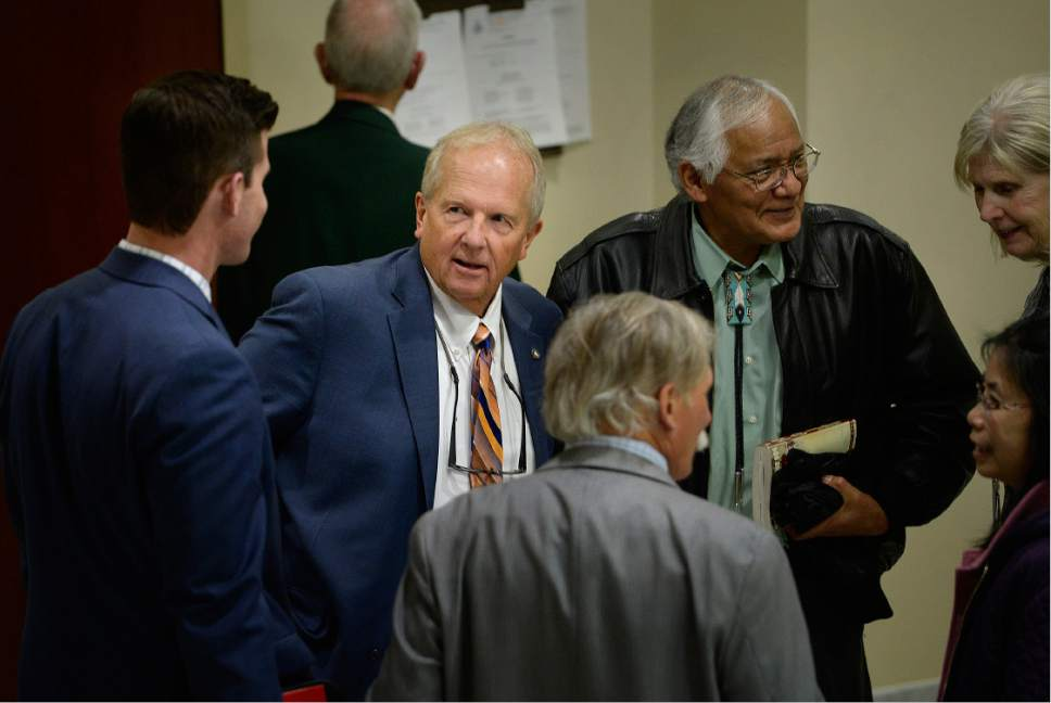 Scott Sommerdorf   |  The Salt Lake Tribune   Rep. Mike Noel, R-Kanab, speaks in the hallways outside one of the House committee rooms, Wednesday, January 25, 2017.