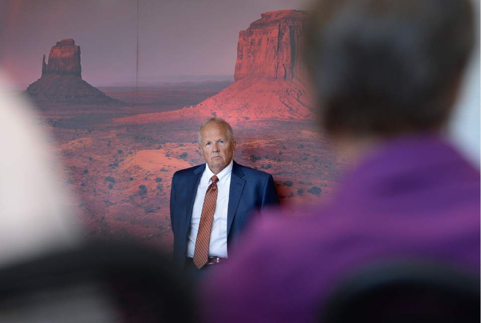 Scott Sommerdorf   |  The Salt Lake Tribune   Utah state Representative Mike Noel, R-Kanab, watches Interior Secretary Sally Jewell as she speaks at a public meeting with the San Juan County Commissioners in Monticello, Thursday, July 14, 2016.