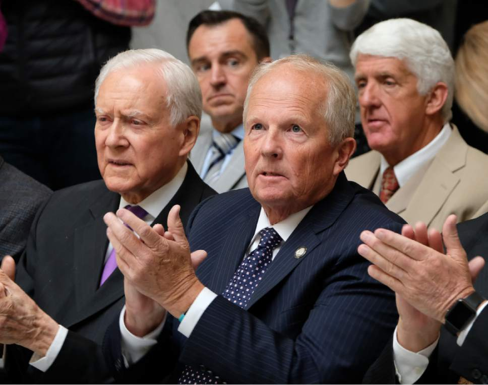 Francisco Kjolseth | The Salt Lake Tribune Senator Orrin Hatch, R-Utah, House speaker Greg Hughes, Rep. Mike Noel, R-Kanab, and U.S. Rep. Rob Bishop, from left, attend a rally in support of Donald Trump  in the rotunda of the Utah Capitol, on Tuesday, Nov. 1, 2016.