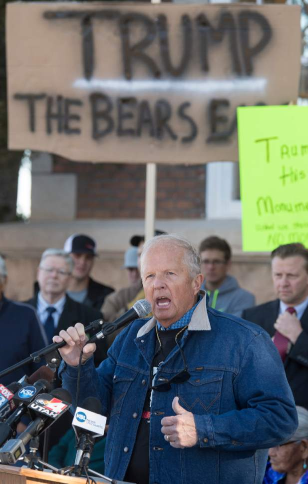 Rick Egan  |  The Salt Lake Tribune  Mike Noel stirs up the crowd, during a protest of the new Bears Ears Monument in Monticello, Thursday, December 29, 2016.