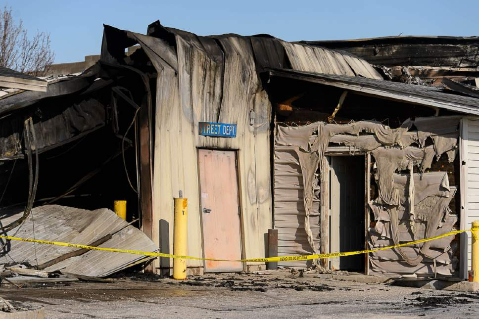 Trent Nelson  |  The Salt Lake Tribune A fire at Sandy's public works maintenance complex destroyed half of the city's snowplow truck fleet and caused millions of dollars in losses before being extinguished, Friday January 27, 2017.