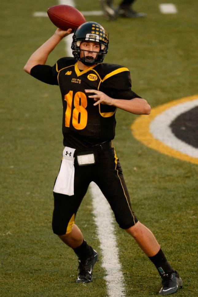 |  Tribune file photo  Cottonwood High School quarterback Cooper Bateman, one of the most heavily recruited players in Utah history, has orally committed to Alabama, passing on more than 50 offers.