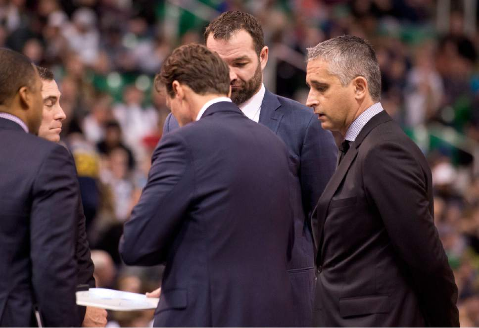 Lennie Mahler  |  The Salt Lake Tribune  Utah Jazz assistant coach Igor Kokoskov meets with other coaching staff during timeout of a game against the Oklahoma City Thunder on Monday, Jan. 23, 2017, at Vivint Smart Home Arena in Salt Lake City.
