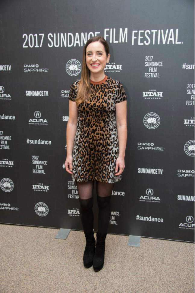 """Director/writer/producer/actress Zoe Lister-Jones poses at the premiere of the film """"Band Aid"""" at the Eccles Theatre during the 2017 Sundance Film Festival on Tuesday, Jan. 24, 2017, in Park City, Utah. (Photo by Arthur Mola/Invision/AP)"""