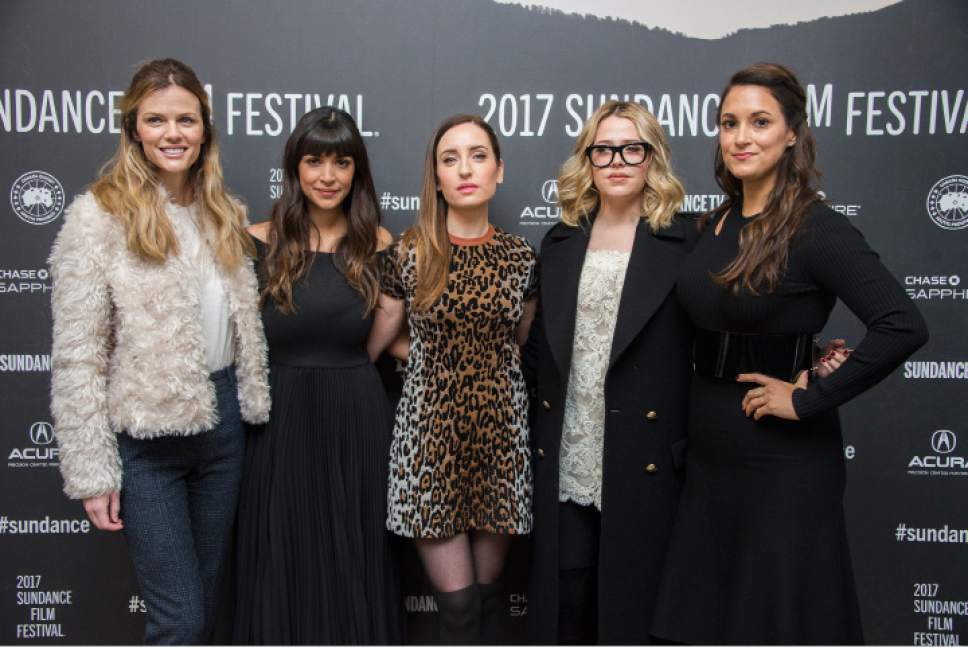"""Brooklyn Decker, from left, Hannah Simone, director/writer/producer/actress Zoe Lister-Jones and actresses Majandra Delfino and Angelique Cabral pose at the premiere of the film """"Band Aid"""" at the Eccles Theatre during the 2017 Sundance Film Festival on Tuesday, Jan. 24, 2017, in Park City, Utah. (Photo by Arthur Mola/Invision/AP)"""