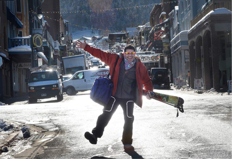 Scott Sommerdorf   |  The Salt Lake Tribune   Philadelphia comedian Jeff Weinberg plays to the camera as he heads to the gondola on Main Street. Delivery trucks and visitors were making for a pretty crowded energy on Main Street in Park City prior to the beginning of the Sundance Film Festival on Wednesday, Jan. 18, 2017. Jeff Weinberg is a  comedian who has a travel show in YouTube called Tourist Trapped, which focuses on getting side tracked when traveling.