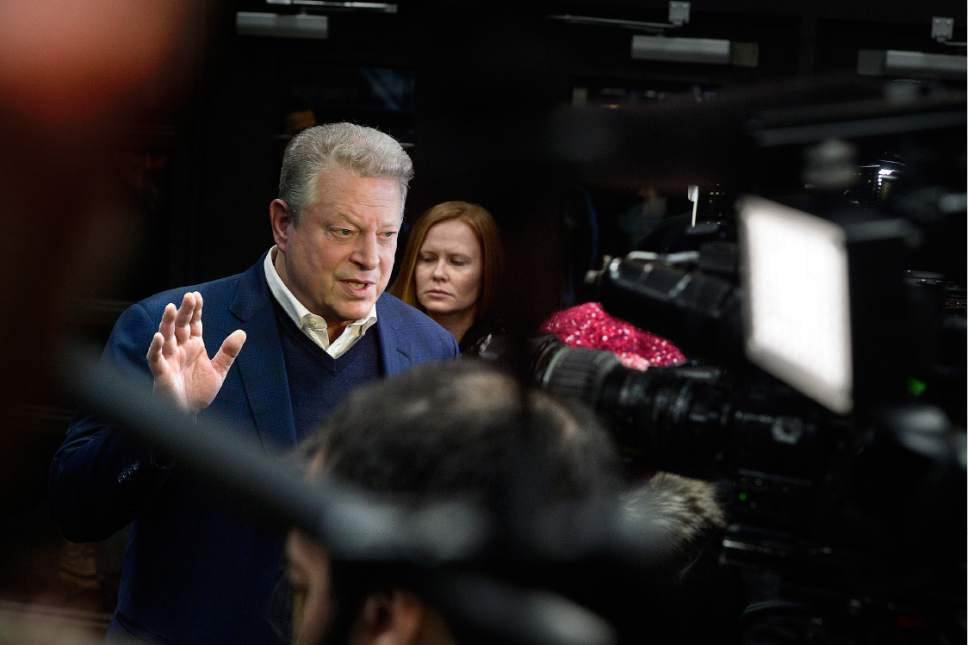 "Scott Sommerdorf   |  The Salt Lake Tribune   Former U.S. Vice President Al Gore is interviewed at the premiere of the film ""An Inconvenient Sequel: Truth to Power"" while passing down the red carpet at the Eccles Theatre in Park City on Thursday, Jan. 19, 2017."