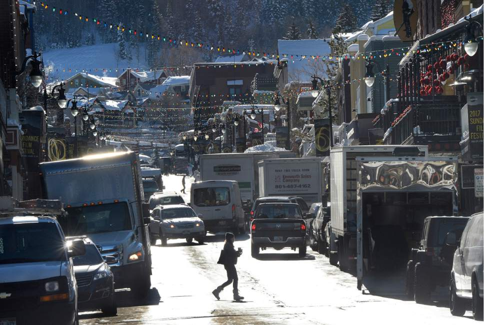 Scott Sommerdorf   |  The Salt Lake Tribune   Delivery trucks and visitors made for crowded energy on Main Street in Park City prior to the beginning of the Sundance Film Festival on Wednesday, Jan. 18, 2017.