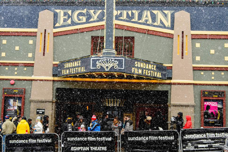 Trent Nelson  |  The Salt Lake Tribune Snow falls on the Egyptian Theatre on Main Street during the Sundance Film Festival in Park City on Friday, Jan. 20, 2017.