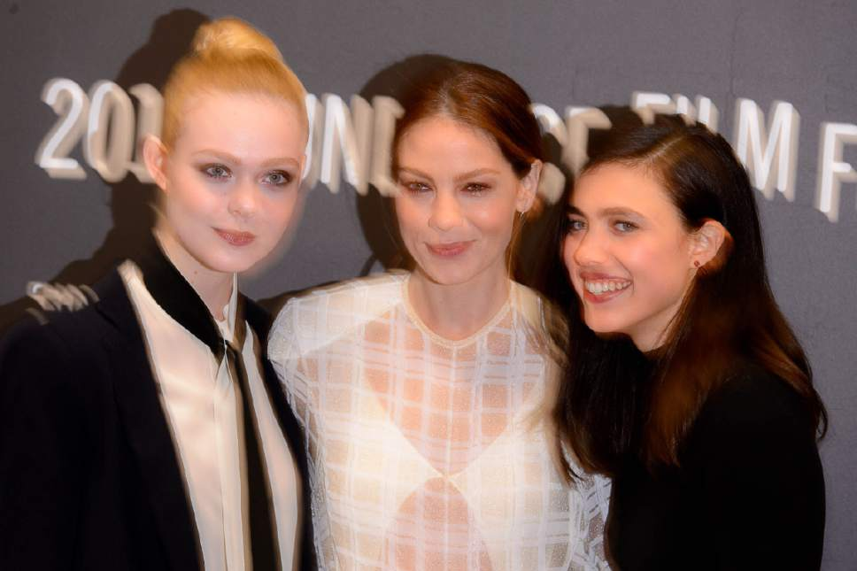 Trent Nelson  |  The Salt Lake Tribune Elle Fanning, Michelle Monaghan and Margaret Qualley as the film ìSidney Hallî makes its premiere Wednesday, Jan. 25, 2017, at the 2017 Sundance Film Festival in Park City.