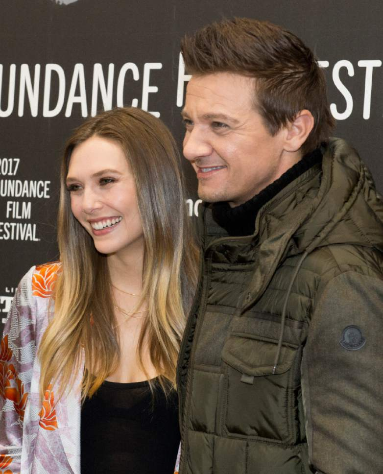 "Rick Egan  |  The Salt Lake Tribune  Elizabeth Olsen and Jeremy Renner at the Eccles Theatre for the world premiere of ""Wind River"" at the 2017 Sundance Film Festival in Park City on Saturday, Jan. 21, 2017."