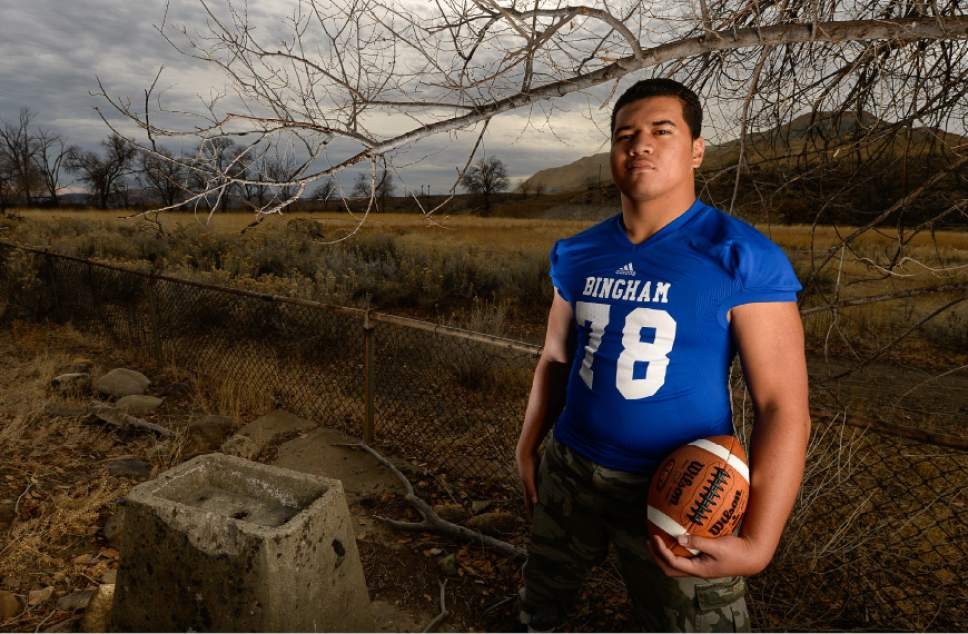 Francisco Kjolseth   The Salt Lake Tribune Bingham defensive tackle Jay Tufele visits his school's early prized football history in the town of Copperton, just below the mine, where an old drinking fountain and the general shape of the football field still stands. Several coaches have said Tufele has the potential to be the best player in school history, and considering the talent that has circulated through the powerhouse program ó that's very telling.