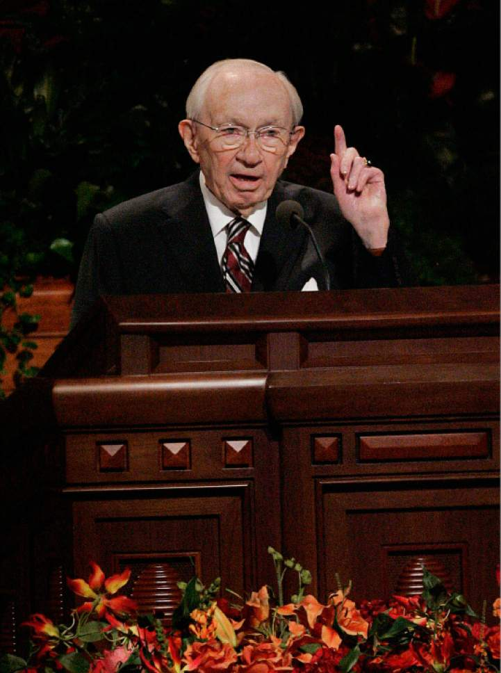 LDS Church  President Gordon B. Hinckley in 2007.  Scott Sommerdorf / The Salt Lake Tribune