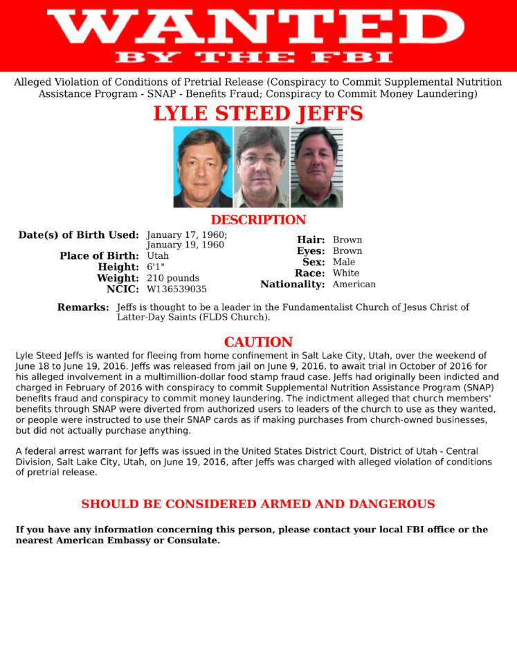 Courtesy  |  FBI  Lyle Steed Jeffs Wanted Poster.