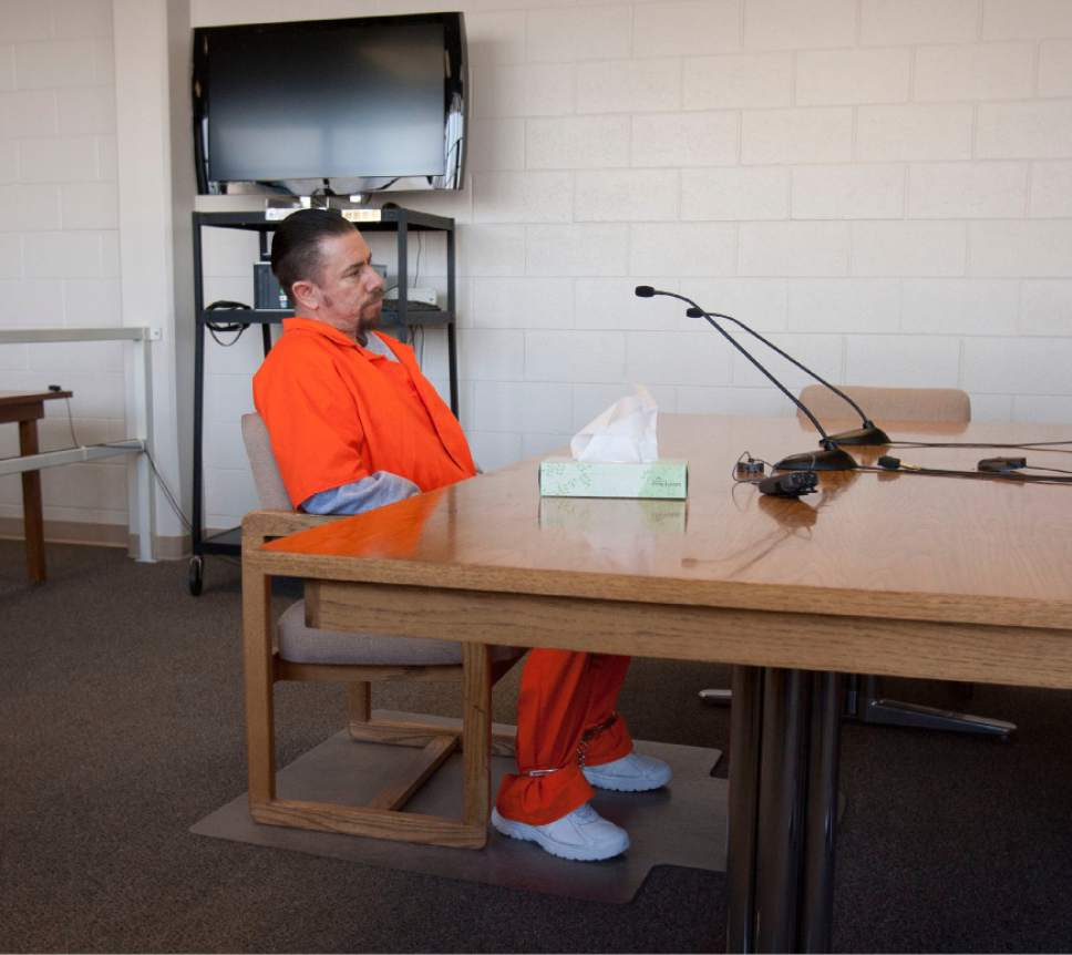 Steve Griffin   The Salt Lake Tribune   Roberto Miramontes Roman, who was acquitted for deputy Josie Fox's murder but went to prison on other charges, sits at a desk during his first hearing before the Utah Board of Pardons at the Utah State Prison in Draper, Utah Thursday February 7, 2013.