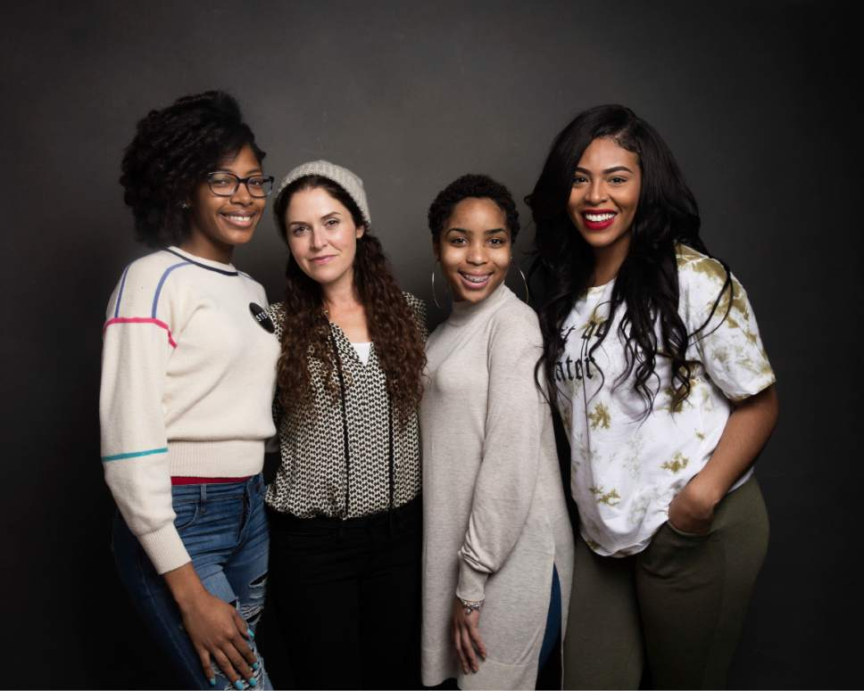 "Director Amanda Lipitz, second from left, poses for a portrait with dancers Cori Grainger, left, Talya Solomon and Blessin Giraldo, right, to promote the film, ""Step"", at the Music Lodge during the Sundance Film Festival on Friday, Jan. 20, 2017, in Park City, Utah. (Photo by Taylor Jewell/Invision/AP)"