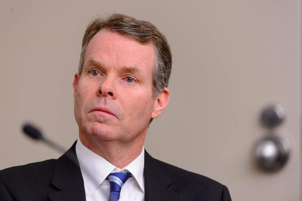 Trent Nelson  |  The Salt Lake Tribune Former Utah Attorney General John Swallow, charged with public corruption, listens at a pre-trial hearing in Salt Lake City on Friday.