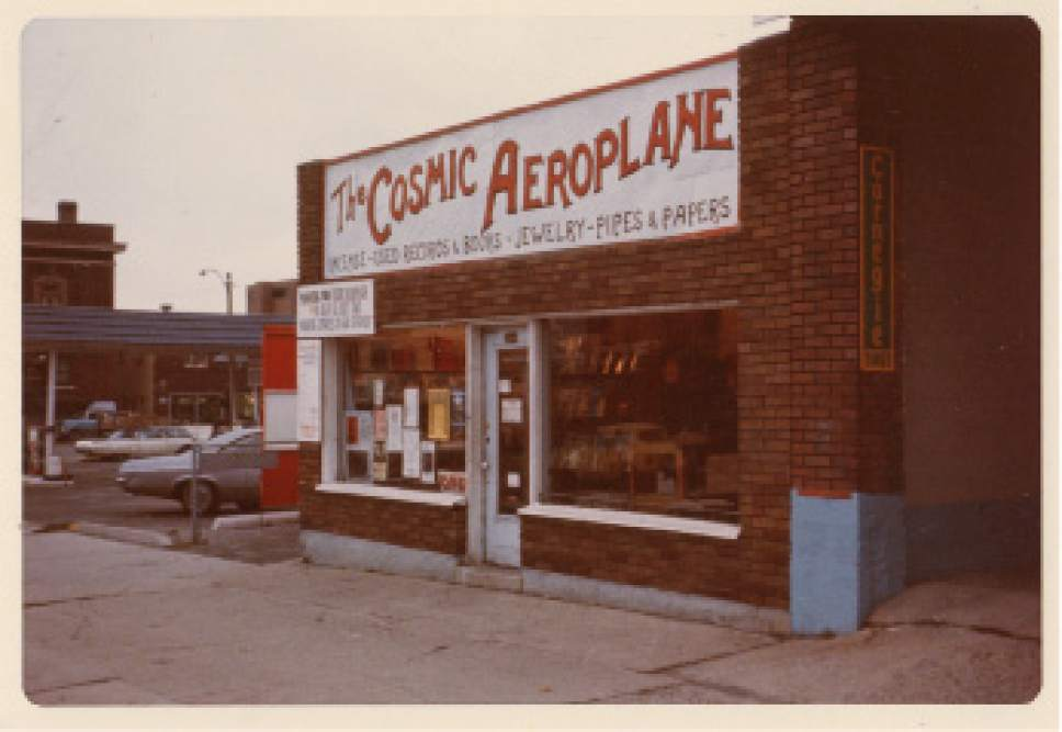 photo courtesy Mike Evans  Cosmic Aeroplane at 366 S. West Temple location. The store was here from 1974-1976.
