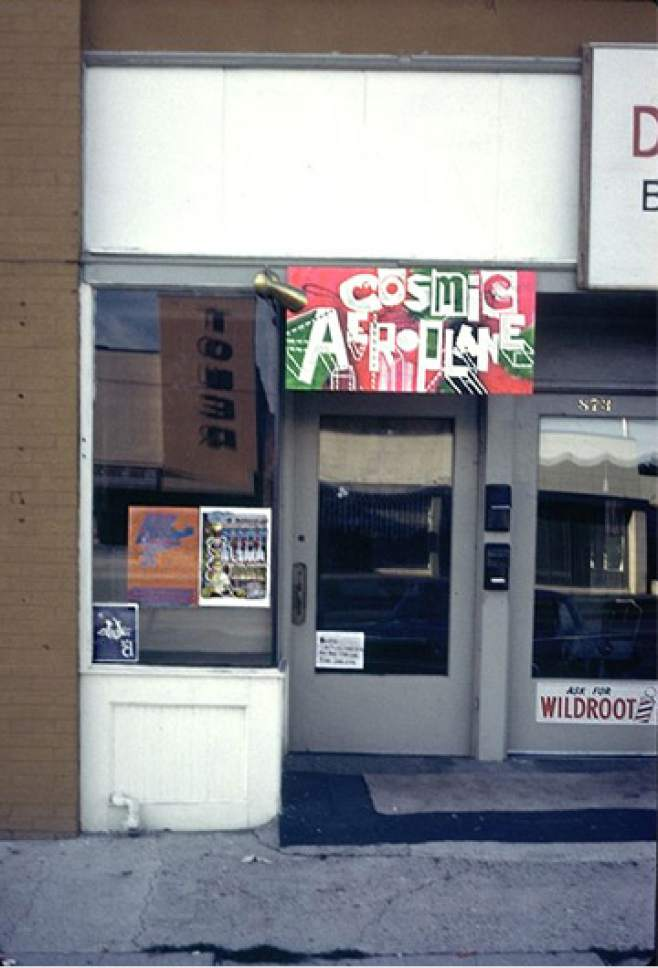 photo courtesy Mike Evans  Sign from the original Cosmic Aeroplane at 871 E. 900 South. The store was here from 1967-1969.
