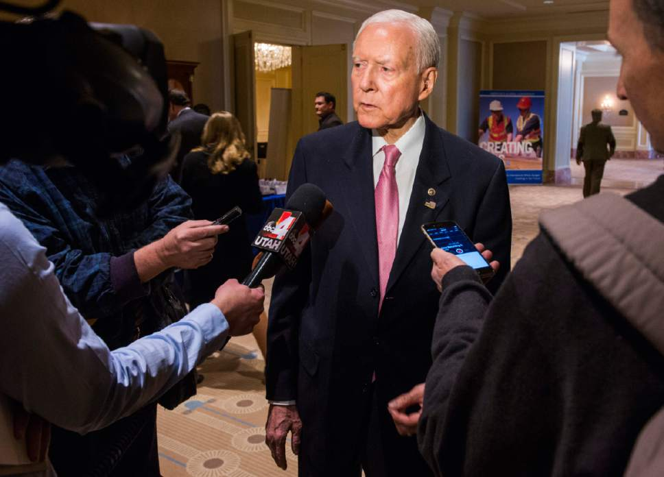 Rick Egan  |   Tribune file photo  Sen. Orrin Hatch answers a few questions from the media before giving the keynote address, at the U.S. Global Leadership Coalition luncheon, at the Grand America, Friday, Nov. 18, 2016.