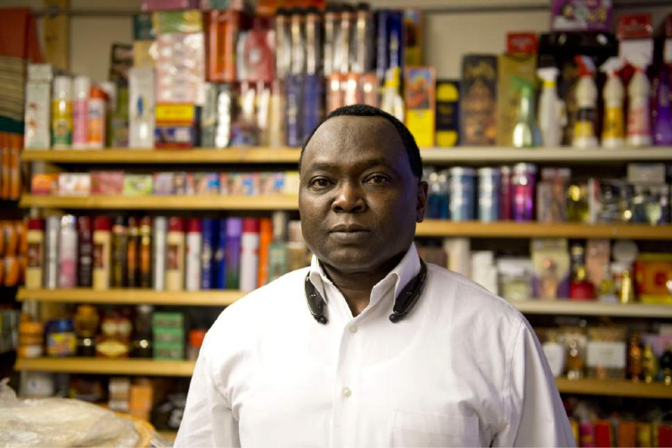 Lennie Mahler  |  The Salt Lake Tribune  Ibrahim Abdalla poses for a portrait at his grocery store in Salt Lake City, Saturday, Jan. 28, 2017. Abdalla, a refugee from Sudan, came to the U.S. in 2004 and became a U.S. citizen. He married overseas in 2015 and is trying to help his wife get to the U.S. so they can live life together, but their future is uncertain after President Trump's immigration order.