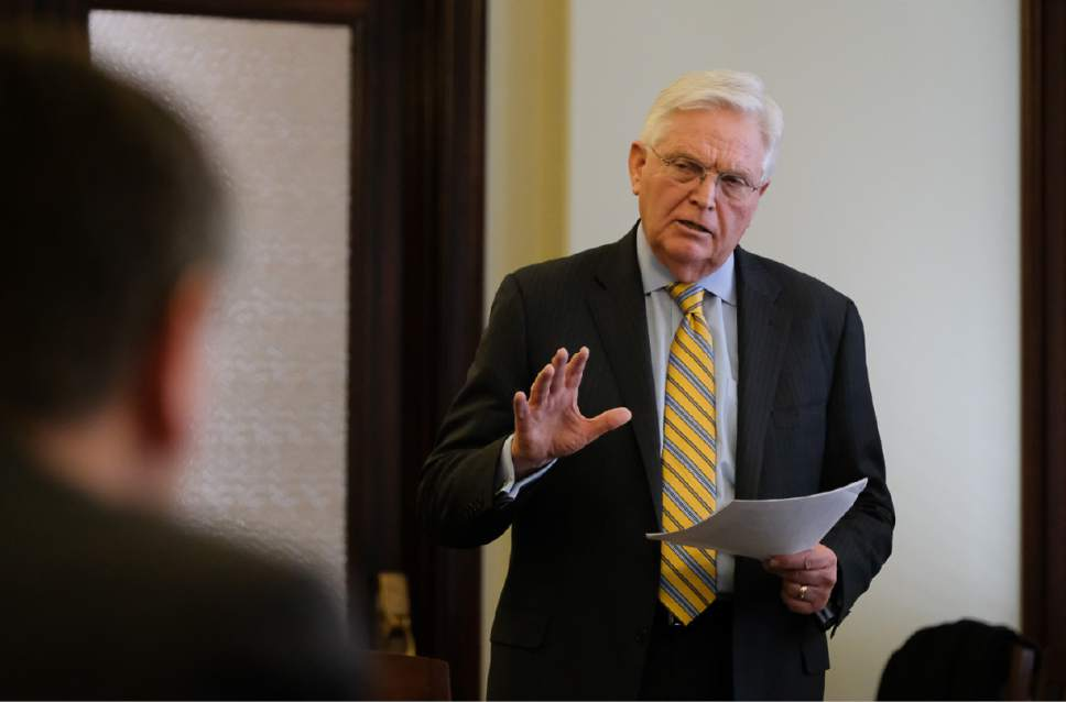 Francisco Kjolseth | The Salt Lake Tribune Rep. Lowry Snow, R-St. George , speaks about juvenile justice reforms during a luncheon at the Utah Capitol on Tuesday, Jan. 31, 2017.