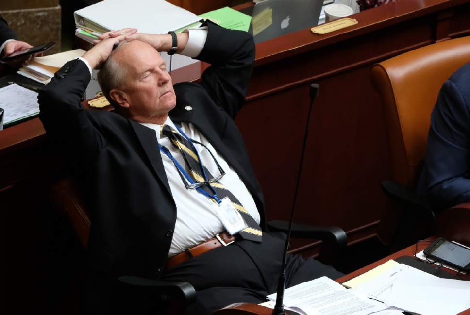 Francisco Kjolseth | The Salt Lake Tribune Rep. Mike Noel, R-Kanab, closes his eyes as house democrats argue against a resolution calling on president Donald Trump to undo the Bears Ears National Monument during Utah House debate on Tuesday, Jan. 31, 2017.