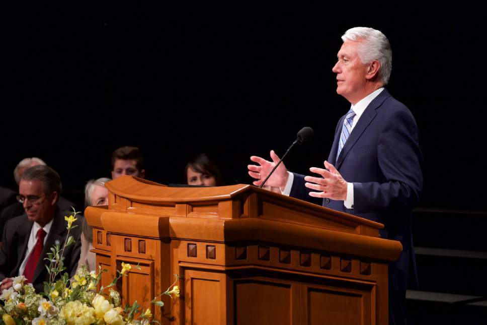 Courtesy  |  LDS Church  Speaking in the Conference Center, President Dieter F. Uchtdorf of the First Presidency of The Church of Jesus Christ of Latter-day Saints announces that Dr. Bruce C. Kusch will become the 13th president of LDS Business College in Salt Lake City, January 31, 2017.