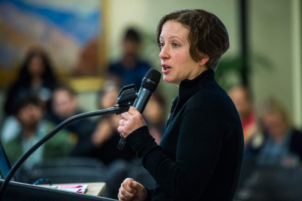 Chris Detrick  |  The Salt Lake Tribune International Student and Scholar Services Director Chalimar Swain speaks about President Trump's executive order on immigration in the University Union Building at the University of Utah Tuesday January 31, 2017.