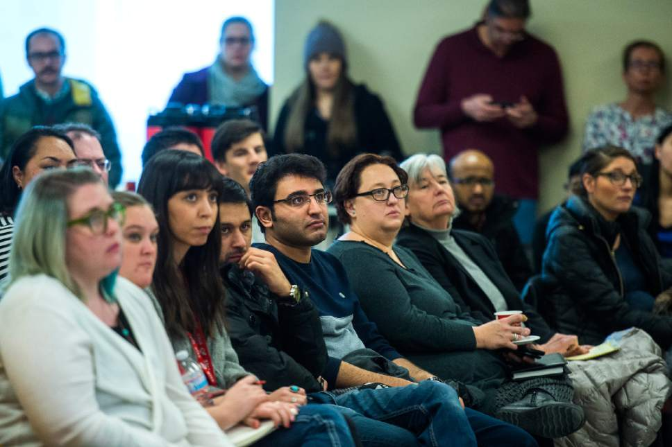 Chris Detrick  |  The Salt Lake Tribune Students, faculty and staff members listen as International Student and Scholar Services Director Chalimar Swain speaks about President Trump's executive order on immigration in the University Union Building at the University of Utah Tuesday January 31, 2017.
