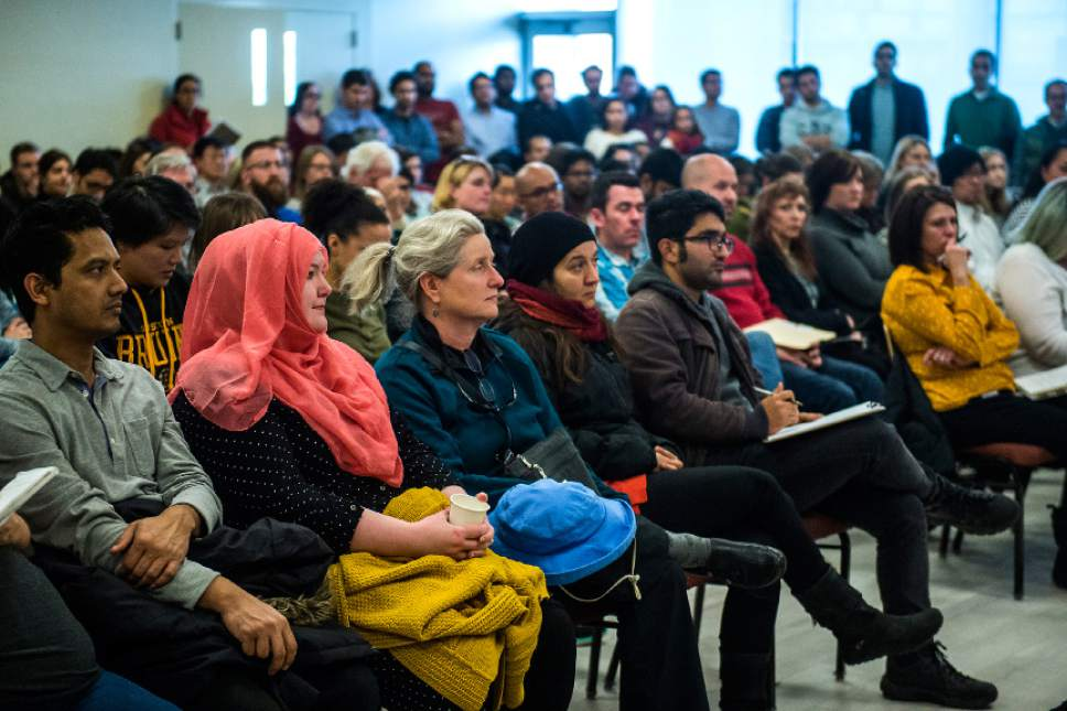 Chris Detrick     The Salt Lake Tribune Students, faculty and staff members listen as International Student and Scholar Services Director Chalimar Swain speaks about President Trump's executive order on immigration in the University Union Building at the University of Utah Tuesday January 31, 2017.