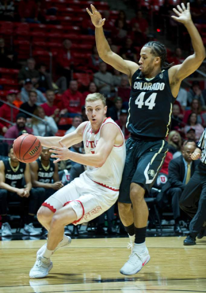 Lennie Mahler     The Salt Lake Tribune  Utah guard Parker Van Dyke drives past Colorado's Josh Fortune in the first half of a game against the Colorado Buffaloes on Sunday, Jan. 1, 2017, at the Huntsman Center in Salt Lake City.