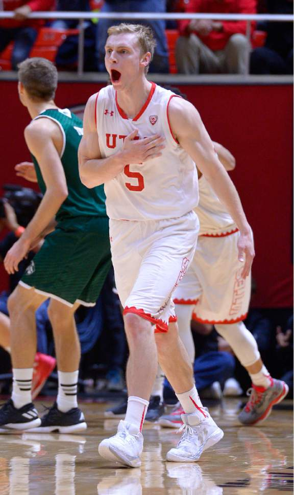 Leah Hogsten     The Salt Lake Tribune Utah Utes guard Parker Van Dyke (5) with a 3-pointer over Utah Valley Wolverines guard Conner Toolson (11). University of Utah defeated Utah Valley University 87-80 during their non-conference game Tuesday, December 6, 2016 at the Jon M. Huntsman Center.