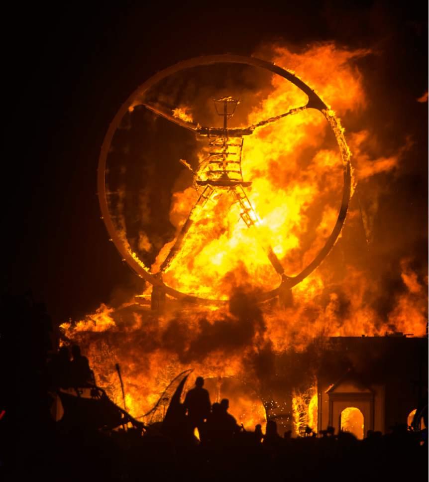 Rick Egan  |  The Salt Lake Tribune  The Burning Man goes up in flames at the Burning Man Festival, in the Black Rock Desert 100 miles north of Reno Nevada, Saturday, September 3, 2016.