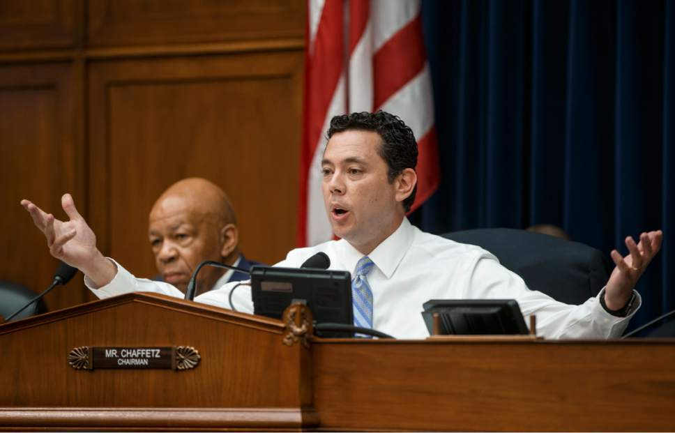 House Oversight and Government Reform Committee Chairman Rep. Jason Chaffetz, R-Utah, right, joined by the committee's ranking member Rep. Elijah Cummings, D-Md., questions FBI Director James Comey, on Capitol Hill in Washington, Thursday, July 7, 2016,  as he was called before the committee to explain the agency's recommendation to not prosecute Hillary Clinton over her private email setup during her time as secretary of state. (AP Photo/J. Scott Applewhite)