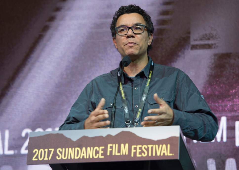 "Rick Egan  |  The Salt Lake Tribune   Peter Nicks receives the Directing Award: U.S. Documentary for his film ""The Force,""  at the 2017 Sundance Film Festival's Awards Ceremony, Saturday, January 28, 2017."