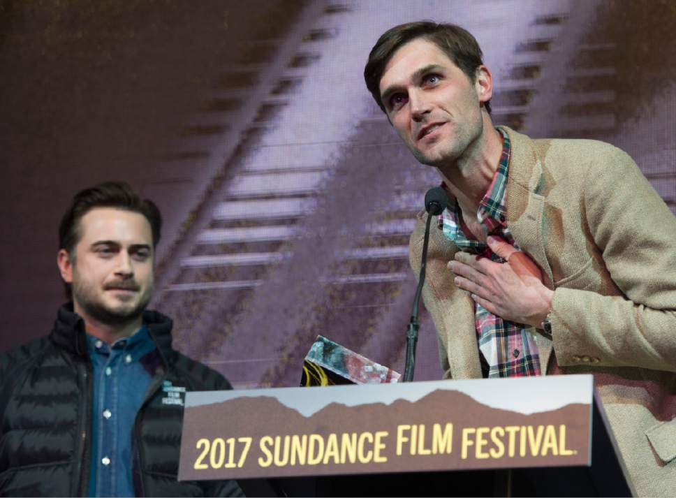 "Rick Egan  |  The Salt Lake Tribune   Writers, Matt Spicer and David Branson Smith received the Waldo Salt Screenwriting Award: U.S. Dramatic ""Ingrid Goes West,"" at the 2017 Sundance Film Festival's Awards Ceremony, Saturday, January 28, 2017."