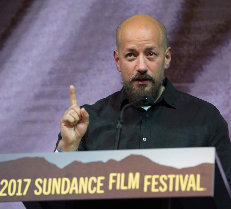 "Rick Egan  |  The Salt Lake Tribune   Director Tarik Salehat  receives the World Cinema Grand Jury Prize: Dramatic for his film, ""The Nile Hilton Incident,"" at the 2017 Sundance Film Festival's Awards Ceremony, Saturday, January 28, 2017."