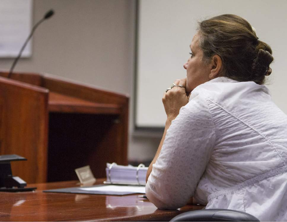 Vickie Sorensen listens to closing statements during the State of Utah v. Sorensen trial at the Fifth District Court in Cedar City on Thursday, Oct. 27, 2016.