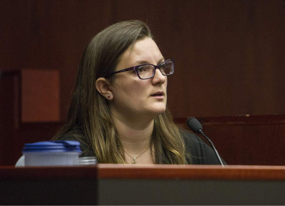 Camille Sorensen Wilcox, a midwife and daughter to Vickie Sorensen, provides her testimony during the State of Utah v. Sorensen trial at the Fifth District Court in Cedar City on Tuesday, Oct. 25, 2016.
