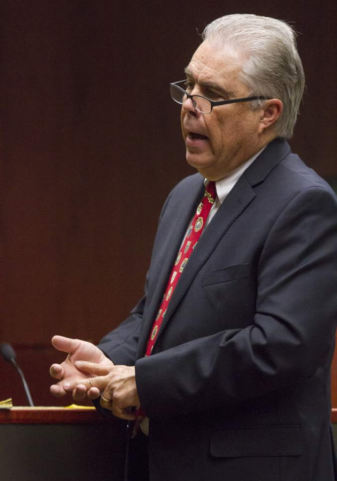 Defense attorney Douglas Terry provides his closing statements to the jury during the State of Utah v. Sorensen trial at the Fifth District Court in Cedar City on Thursday, Oct. 27, 2016.