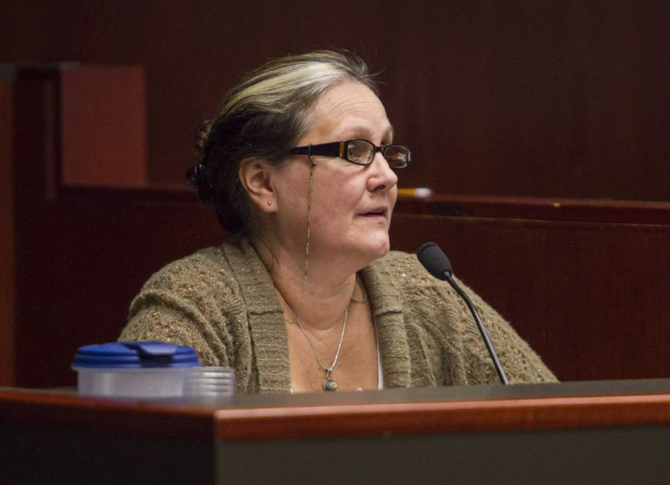 Vickie Sorensen, a midwife and defendant in the case of the State of Utah v. Sorensen, provides her testimony during trial at the Fifth District Court in Cedar City on Wednesday, Oct. 26, 2016.